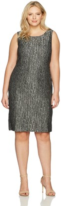 Kasper Women's Plus Size Metallic Jacquard Pleated Dress