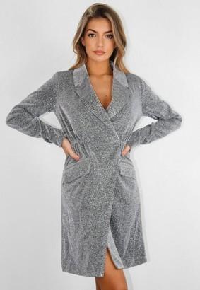 Missguided Silver Double Button Sparkle Blazer Dress