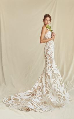 Oscar de la Renta Bridal Floral Cut Floor Gown