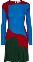 Esteban Cortazar Color-block Stretch-knit Mini Dress - Bright blue
