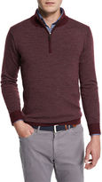 Peter Millar Striped Quarter-Zip Sweater, Charcoal