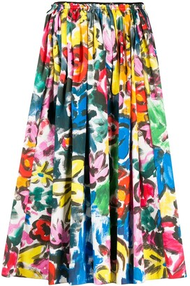 Marni Pleated Brushstroke Midi Skirt