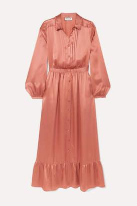 Paul & Joe Tiered Pleated Silk-satin Midi Dress - Bronze