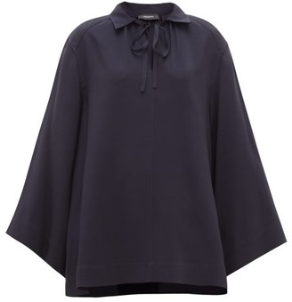 Joseph Fran Wide-sleeve Collared Silk Blouse - Navy