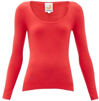 JoosTricot Peachskin Scoop-neck Cotton-blend Sweater - Red