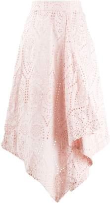 Ganni asymmetric perforated skirt