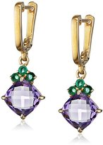 Fiorelli Gold Yellow Gold Amethyst and Emerald Earrings