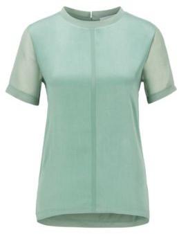 HUGO BOSS Regular Fit Jersey Top With Stretch Silk Front - Light Green