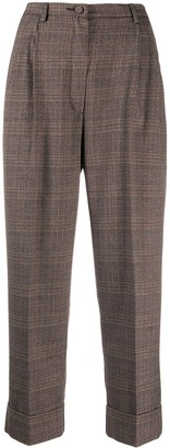 Hebe Studio Galles high-rise check cropped trousers
