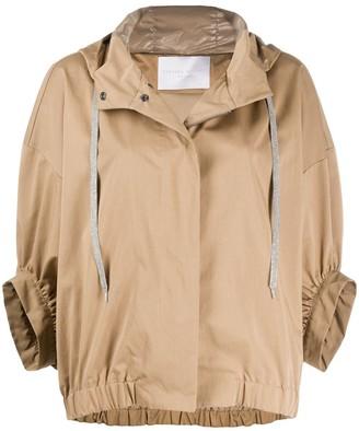 Fabiana Filippi Cropped Sleeves Hooded Jacket