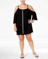 Dotti Plus Size Jewel Tones Cold-Shoulder Tunic Cover-Up Women's Swimsuit