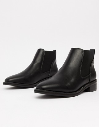 Truffle Collection Flat Chelsea Boots-Black