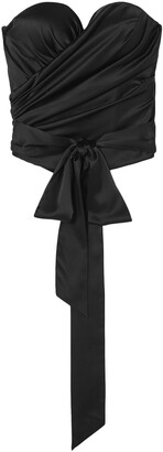 Alexandre Vauthier Strapless Draped Stretch-silk Satin Bustier Top