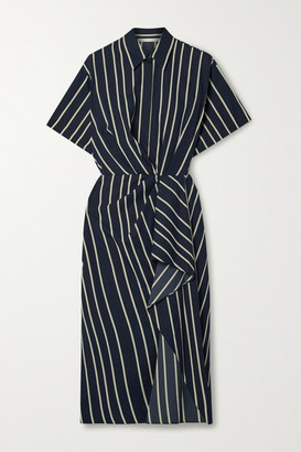 Jason Wu Collection Draped Striped Twill Dress - Navy