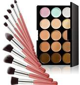 MagiDeal 15 Colors Camouflage Concealer Face Cream Makeup Palette with 10Pcs High-grade Brushes Set