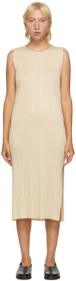 Pleats Please Issey Miyake Beige Sleeveless Mid-Length Dress