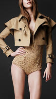Burberry Cropped Cotton Gabardine Trench Jacket