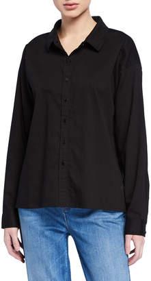 Eileen Fisher Petite Button-Down Soft Organic Cotton Twill Shirt