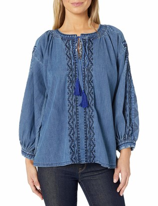 Grace in LA Women's Embroidered Denim Peasant Top
