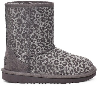 UGG Kids Classic II Glitter Leopard Ankle Boots in Suede