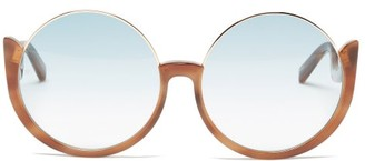 Linda Farrow Florence Oversized Round Acetate Sunglasses - Blue