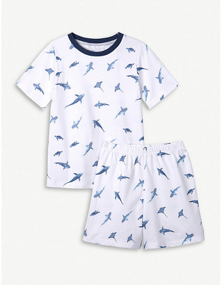 The Little White Company Under The Sea shark-print cotton pyjamas 1-6 years