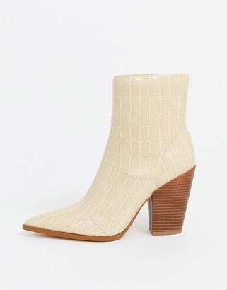 Public Desire Shannon western ankle boot in cream patent mock croc