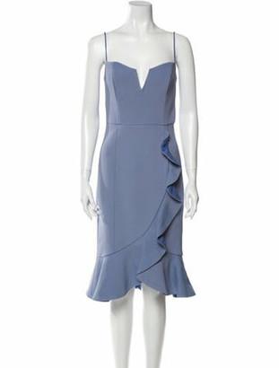 Nicholas V-Neck Knee-Length Dress Blue