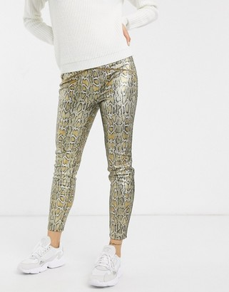 Free People Rio printed faux leather trousers-Gold