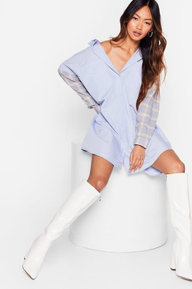 Nasty Gal Womens Hold Back On the Mixer Check Shirt Dress - Baby Blue
