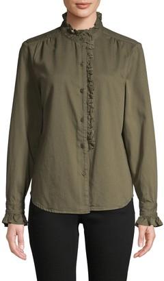 Frame Mockneck Cotton-Blend Top