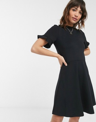 French Connection fit and flare mini dress with ruffle sleeve in black
