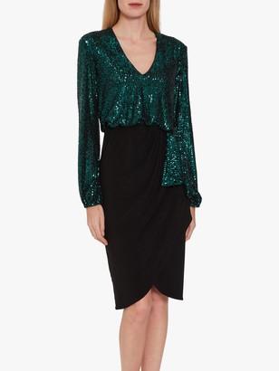 Gina Bacconi Anara Sequin Jersey Dress, Dark Green