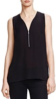 The Kooples Half Zip Silk Tank