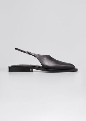 Jil Sander Slingback Leather Flat Sandals