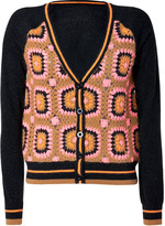 Juicy Couture Charcoal and Multicolor Kaleidoscope Crochet Cardigan