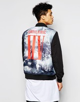 Criminal Damage Reversible Bomber Jacket - Blue
