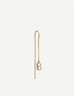 Rachel Jackson 'B' Initial 22ct yellow gold-plated sterling silver threader earring