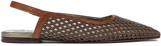 Brunello Cucinelli Bead-embellished Laser-cut Leather Slingback Point-toe Flats