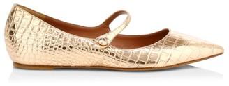 Tabitha Simmons Hermione Metallic Croc-Embossed Leather Mary Jane Flats