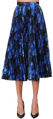 Richard Quinn Pleated Print Taffeta Circle Midi Skirt