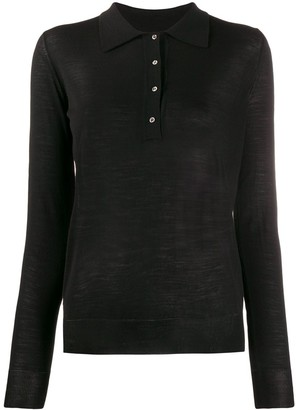 Nuur Fine Knit Sheer Style Polo Top