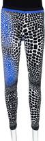 Thumbnail for your product : Roberto Cavalli Black & Blue Animal Print Stretch Knit Leggings L