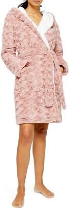 Topshop Hooded Fleece Short Robe