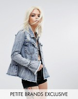 Urban Bliss Petite Distressed Denim Jacket With Ruffle Detail