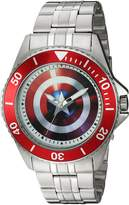 Marvel Men's 'Captain America' Quartz Stainless Steel Casual Watch, Color:-Toned (Model: WMA000008)