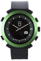 Asstd National Brand Cogito Classic Green Bezel Black Silicone Strap Analog/Digital Smartwatch
