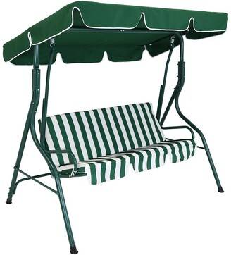 Sunnydaze 3-Person Striped Cushion Seat Outdoor Canopy Porch Patio Swing