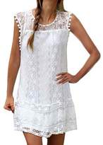 Shinekoo Women Plus Size Summer Sleeveless Lace Mini Dress Lady Long Tank Top