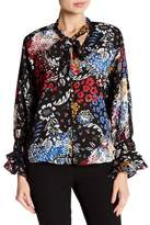 Laundry by Shelli Segal Ruffle Sleeve Pussy Bow Printed Blouse